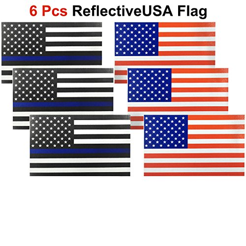 American Flag Window (6 Pack, Reflective US Flag Decal for Cars & Trucks, 5 x 3 inch American USA Flag Decal Sticker Honoring Police Law Enforcement 3M Vinyl Window Bumper Tape)