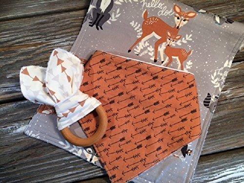 Woodland Bandana Bib Burp Cloth Teether Gift Set Chenille Bib Burp Cloth