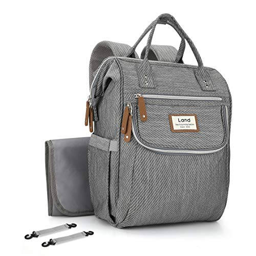Stripe Baby Diaper Bag - Iduola Diaper Bag, Unique Stripe Baby Diaper Backpack Multifunction Roomy Travel Back Pack Waterproof Maternity Nursing Nappy Bags with Changing Pad, Stroller Straps