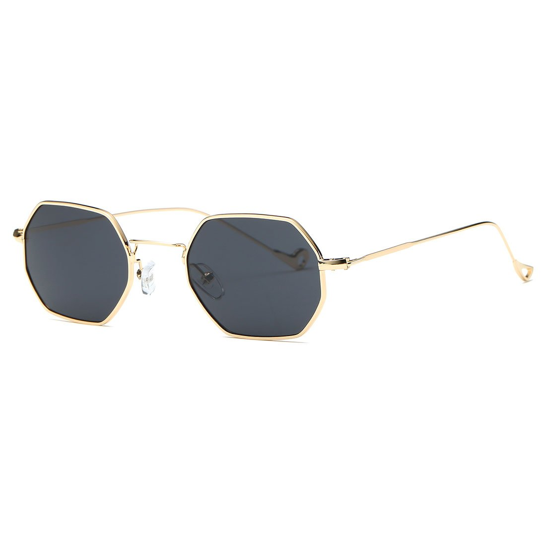 AEVOGUE Unisex Sunglasses Small Metal Frame Asymmetry Temple AE0520 (Gold&Black, 56)