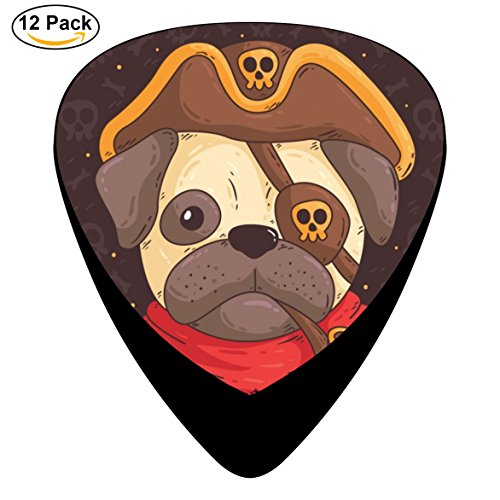 Guitar Pick Cartoon Celluloid Plectrum With Cute Pug With Pirate Costume Guitar Black For Guitar Medium (12-Pack)