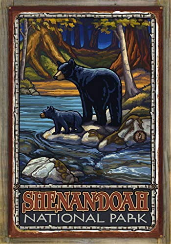 Northwest Art Mall Shenandoah National Park Bears in Stream Rustic Metal Print on Reclaimed Barn Wood by Paul A. Lanquist (24