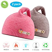 NIOFEI 2 Pack Baby Winter Beanie Hats for Unisex Baby Boys Girls Soft Cotton Cute Toddler Infant Kids Knit Beanies Hats Caps (Watermelon Red + Coffee)