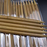 Noeyone 75 pcs.Bamboo Crochet hook carbonized double pointed knitting needles Craft knit tools