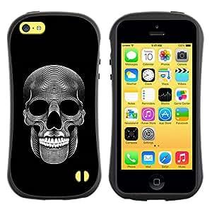 Be-Star Impreso Colorido Diseño Antichoque Caso Del Iface Primera Clase Tpu Carcasa Funda Case Cubierta Par Apple iPhone 5C ( music skull death metal dark art black )