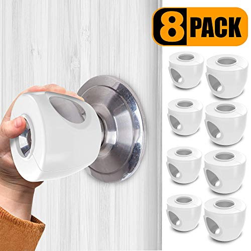 TinyPatrol 8 Pack Baby Safety Door Knob Cover [CHILDPROOF] Door Lock Covers Easy to Install and Remove on Doors [Universal Design- FIT Most KNOBS]