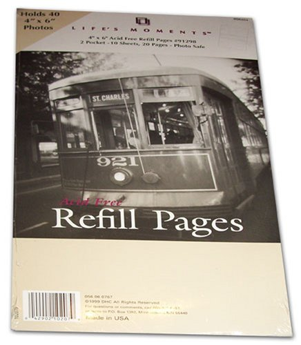Life's Moments Acid Free Refill Pages #91298 Holds 4 x 6 inch Pictures 4x6 2-Pocket
