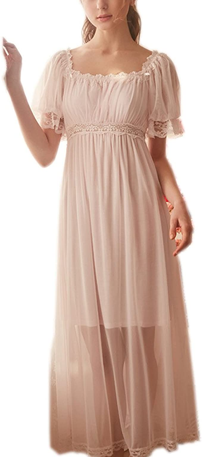 1920s Style Underwear, Lingerie, Nightgowns, Pajamas Womens Summer Lace Vintage Nightgown Victorian Princess Nightdress Chemises Babydoll Pajamas Lounger Sleepwear $31.89 AT vintagedancer.com