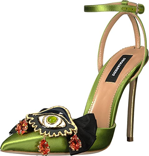 [DSQUARED2 Women's Raso Speechio Pump Green Sandal] (Dsquared2 Womens Buckle)