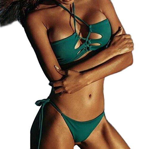 2017 vovotrade Mujer Push-Up acolchado Bra playa traje de baño bikini conjunto traje de baño Verde