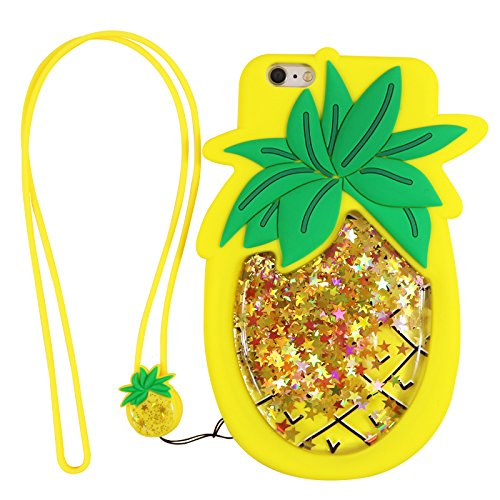 timeless design 44aca 23461 Liquid Flowing Glitter Pineapple Case With Strap for iPhone 6 PLUS/6s PLUS  6+ 6s+ 6Plus 5.5
