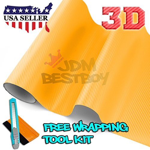 Free Tool Kit 3D Yellow Carbon Fiber Texture Vinyl Wrap Sticker Decal Film Sheet - - Vinyl Texture