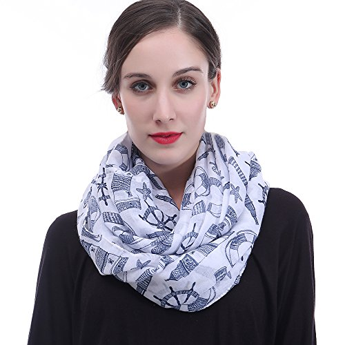 Lina & Lily Set of Nautical Icons Anchor Wheel Print Infinity Loop Scarf Lightweight (Blue)
