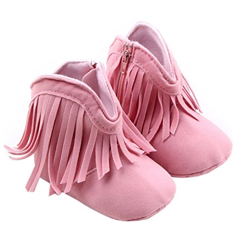 (Womail Baby Girls Boots, Winter Warm Infant Newborn Snow Boots Crib Shoes Prewalker (0~6 Month, Pink))