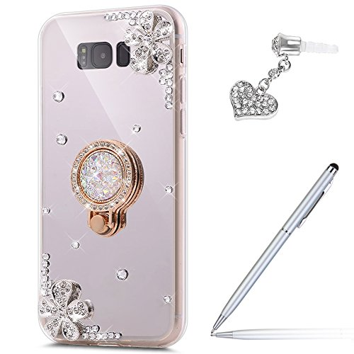 Galaxy S8 Plus Case,Galaxy S8 Plus Mirror Case,ikasus Inlaid diamond Flowers Rhinestone Diamond Glitter Bling Mirror Back TPU Case with Ring Stand Holder +Touch Pen Dust Plug for Galaxy S8 Plus,Silver