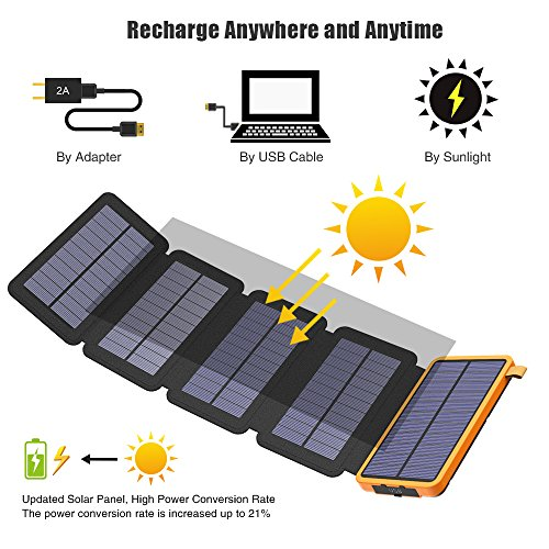 X-DRAGON Solar Charger, 20000mAh Solar Power Bank with 4 Solar Panels, Dual USB, LED Flashlight Waterproof Portable External Battery Backup for iPhone, Cell Phones, ipad and More-Orange by X-DRAGON (Image #1)