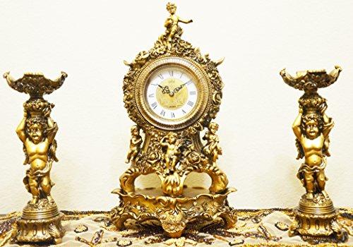 Cherub Table Clock - Antique Cherub's 3-Piece resin Clock and Candelabra Set in Bronze