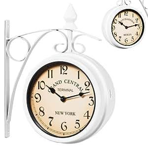reloj de pared estilo vintage retro estacion tren doble