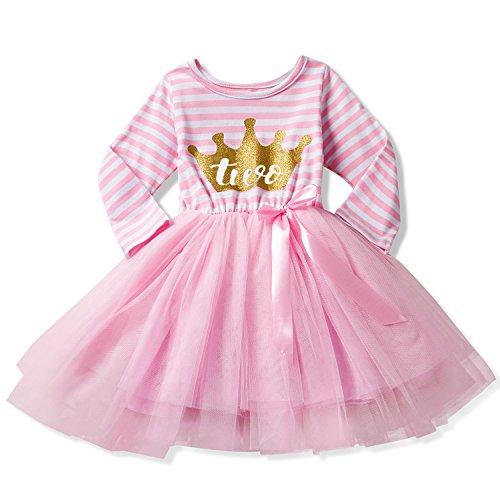 NNJXD Girl Shinny Stripe Baby Girl Long Sleeve Printed Tutu Dress Gold&Light Pink 13-24 Months