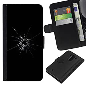All Phone Most Case / Oferta Especial Cáscara Funda de cuero Monedero Cubierta de proteccion Caso / Wallet Case for LG G3 // Broken Glass Shattered Bullet Shot Black