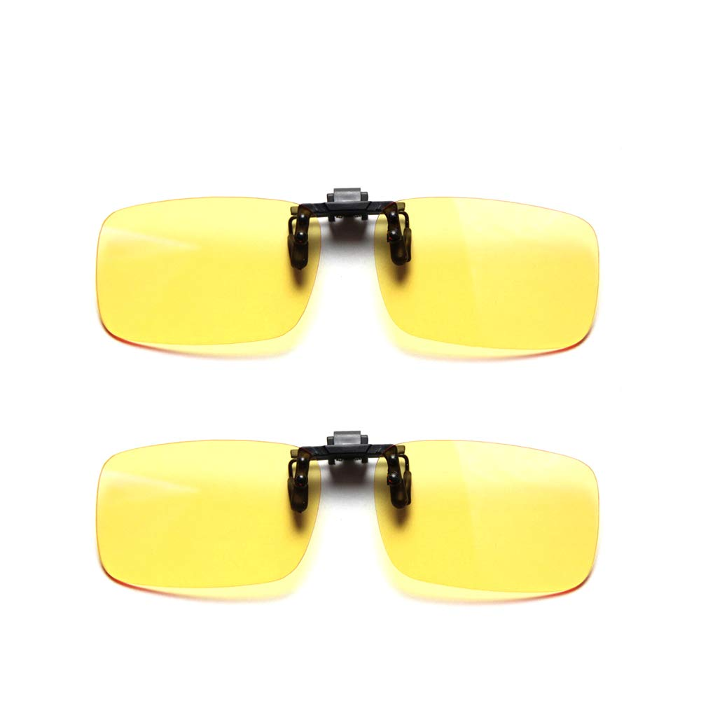 Cyxus 2 Paquetes Filtro de luz Azul Gafas Clip on Computadora Gafas Bloqueo UV Anti Fatiga de Ojos, Unisexo(Hombres/Mujeres Dos Lentes Amarillas: ...