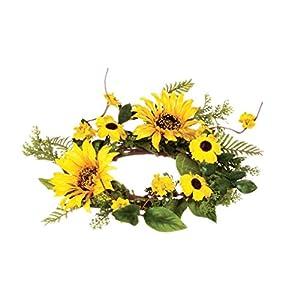 "Sullivans 9"" Artificial Sunflower Table Wreath 47"