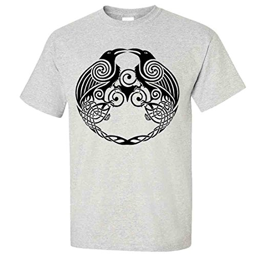 Dual Raven Celtic Tattoo T-shirt/tee - Ash Small (What Does Peony Mean)