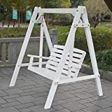 Outdoor Swing Chair, All Solid Wood Waterproof with Flower Vine Terrace Rocking Chair - White Brown 624-YY (Color : White, Size : No Flowers)