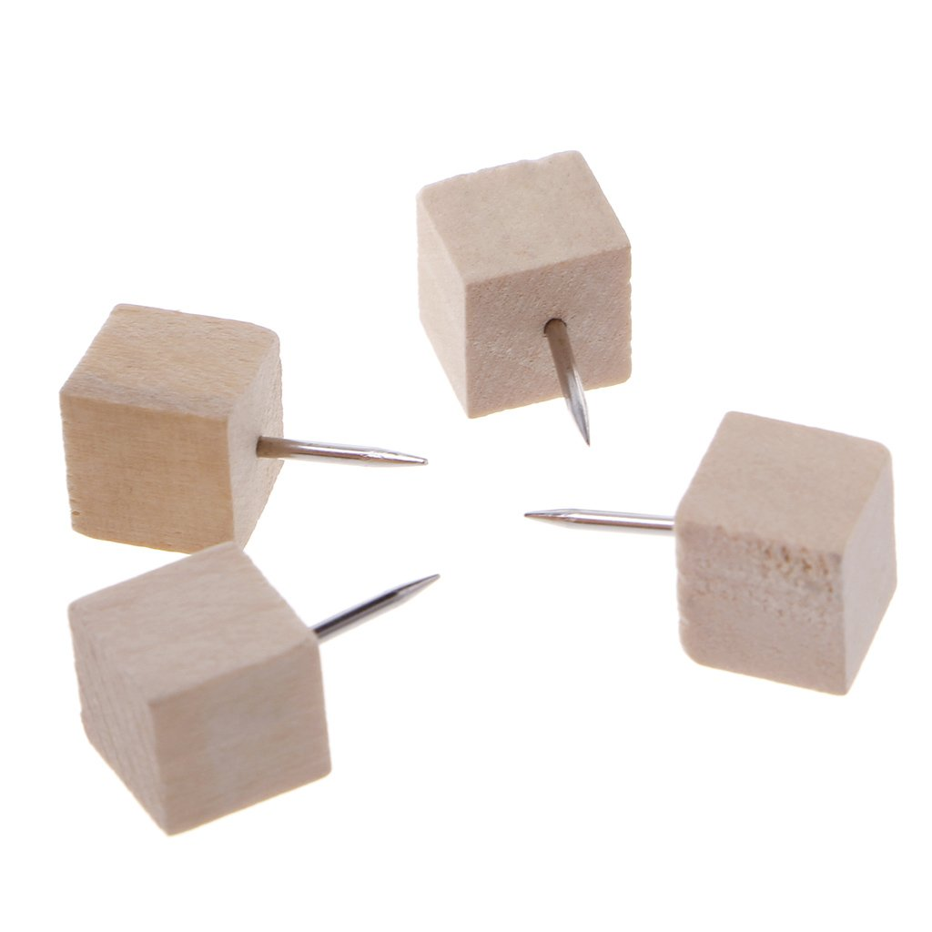 30 Pcs Wooden Thumbtack Quadrate Creative Decorative Drawing Push Pins Wood Head Yangxiyan