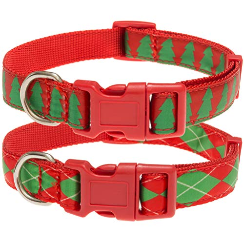 HOMIMP 2 Pack Christmas Dog Collar Adjustable - Christmas Tree and Rhombus Style for Small Medium Large Doggy Doggie