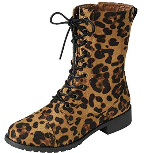 Forever Link Womens Round Toe Military Lace up Knit Ankle Cuff Low Heel Combat Boots, Leopard, - Tall Leopard Boot