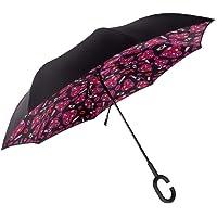 Double-Layer Reverse Umbrella Straight Rod Car with Weatherproof Umbrella Windproof Umbrella for Female Anti-UV Upside Down Umbrella with C-Shaped Handle