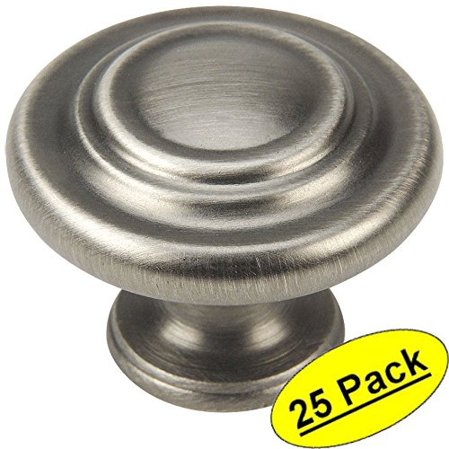 Cosmas 9971AS Antique Silver Cabinet Hardware 3-Ring Round Knob - 1-1/4