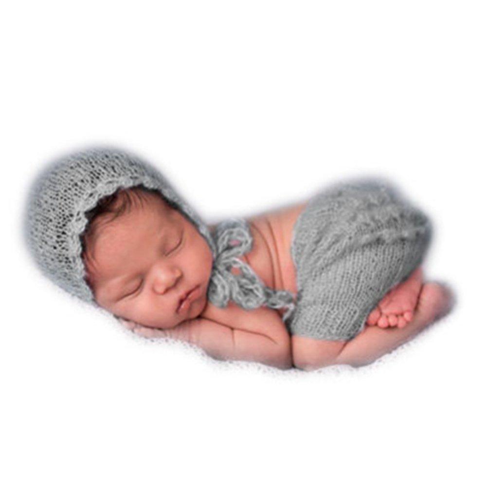 Vemonllas Tejer a Mano Recién Nacido Chico Niña Conjuntos Bebé Fotografía Accesorios Mohair Tejer Sombreros Pantalones