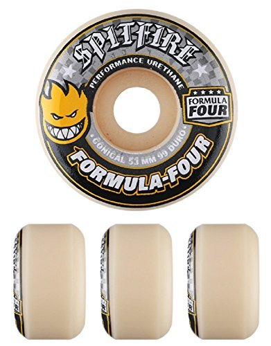 Set of 4 Spitfire Formula Four White//Yellow Conical 99D Skateboard Wheels