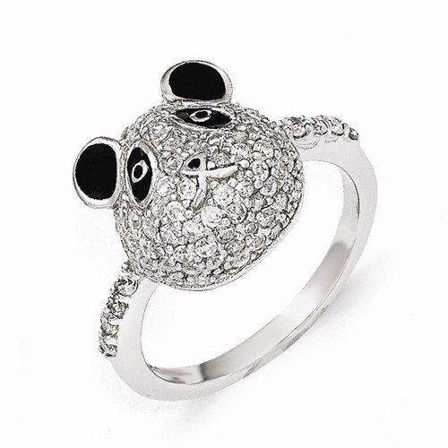Cheryl M Sterling Silver Enameled CZ Panda Bear Ring