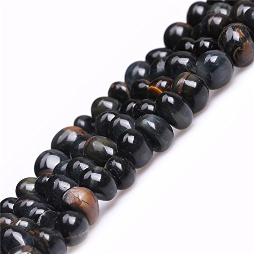 JOE FOREMAN 8x12mm Blue Tiger Eye Semi Precious Gemstone Freeform Potato Loose Beads for Jewelry Making DIY Handmade Craft Supplies 15