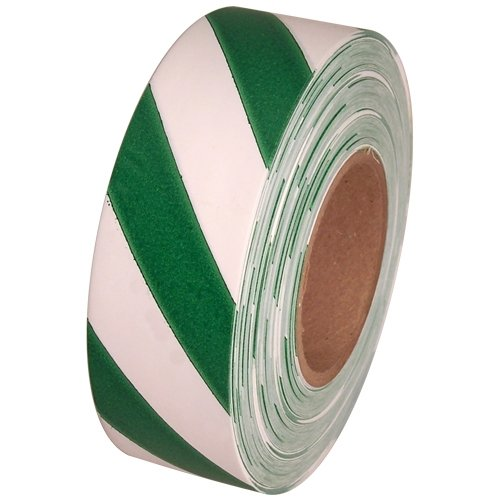 "Safety Striped Flagging Tape 1-3/16"" Non-Adhesive Plastic Ribbon, Green/White (Pack of 1)"