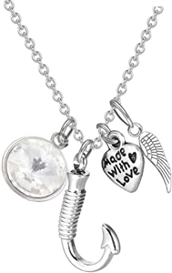 ZARABE Cremation Urn Jewelry Engraved God has You in his arms Ash Keepsake Memorial Initial Necklace