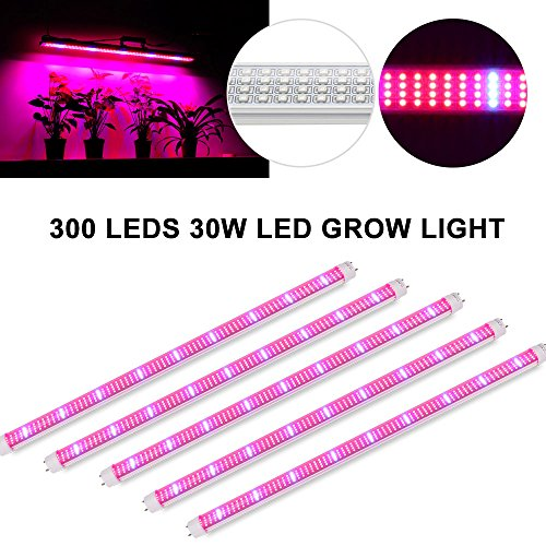 [Pack of 5] Derlights 30W LED Grow Light Tube,264pcs Red/36pcs Blue ,T8 2ft Plant Led Grow Strip for Garden, Hydroponic, and Greenhouse (30w 0.6m) by Derlights