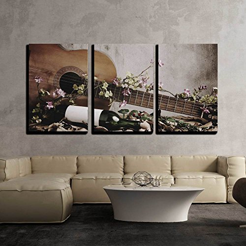 (wall26 - 3 Piece Canvas Wall Art - Still Life Wine Bottle with Acoustic Guitar - Modern Home Decor Stretched and Framed Ready to Hang - 24