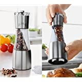 Salt and Pepper Grinder Mill ALL in 1 - Left for Salt Right for Pepper - Stainless Steel Finish