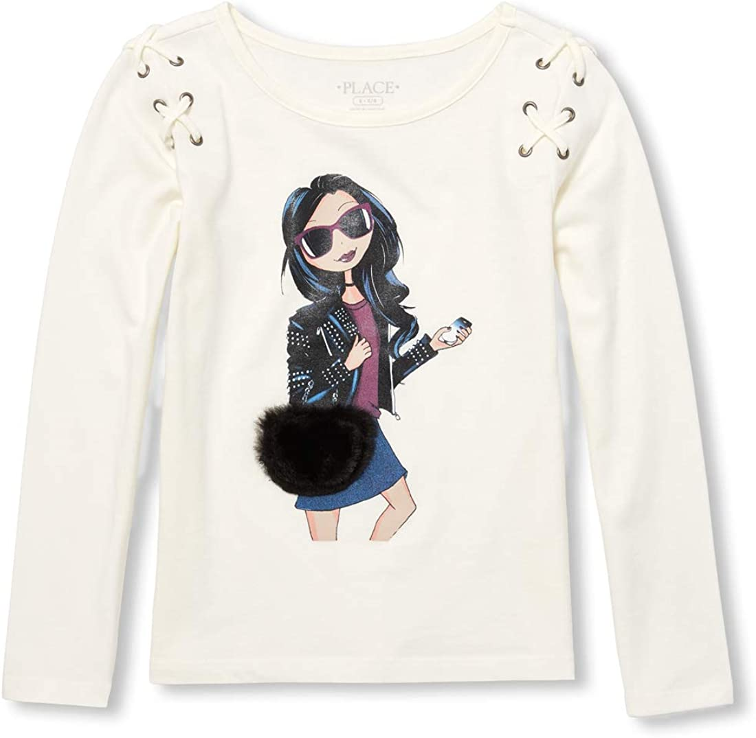 The Childrens Place Big Girls Long Sleeve Laceup Graphic Knit