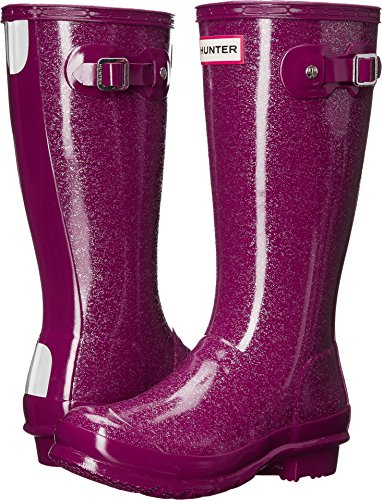 Hunter Boots Girls' Original Kids Glitter Rain Boot Violet 4 M US (Kids Wellies Hunter)