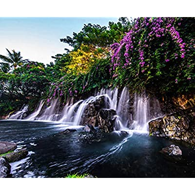 5D DIY Diamond Painting Kits A Beautiful Waterfall in Hawaii Full Drill Painting Arts Craft Canvas for Home Wall Decor Full Drill Cross Stitch Gift 12X16 Inch: Toys & Games