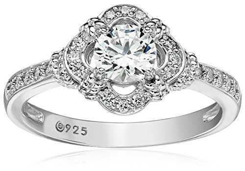 (Platinum-Plated Sterling Silver Swarovski Zirconia Antique Frame Halo Ring (1 cttw), Size 9)