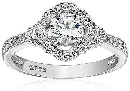 Platinum-Plated Sterling Silver Swarovski Zirconia Antique Frame Halo Ring (1 cttw)