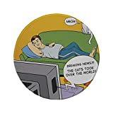 xtrac mouse pad - Non-Slip Rubber Round Mouse Pad,Vintage,Man Lying on Couch Watching TV Cats Take Over World Comic Book Pop Art Illustration,Multicolor,11.8
