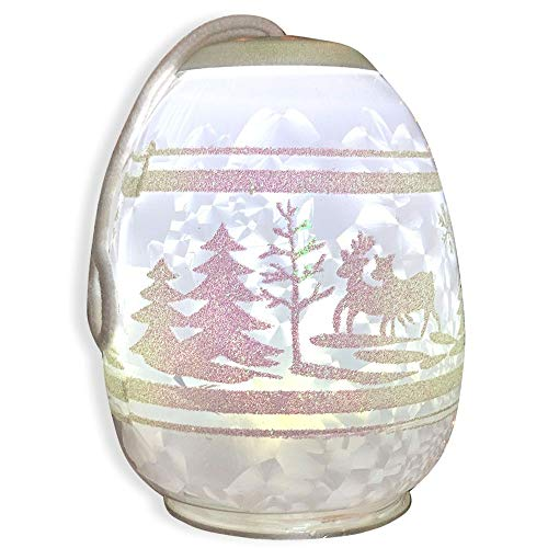 BANBERRY DESIGNS Glass Christmas Light - White LED Glass Lighted Globe Ornament with White Glittery Winter Scene - Hand Painted Seasonal Design ()