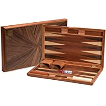 Backgammon Game Set with Wood Inlay Board and Accessories, 17 Inches